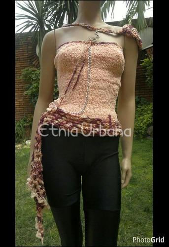 top strapless con cadenas y dije tejidos diseños exclusivos