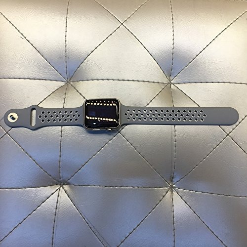 top4cus 42mm soft silicone replacement sport strap iwatch ba