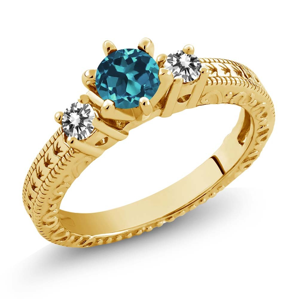 5c45febfa519 Londres Topacio Azul Anillo De Oro Amarillo -   10