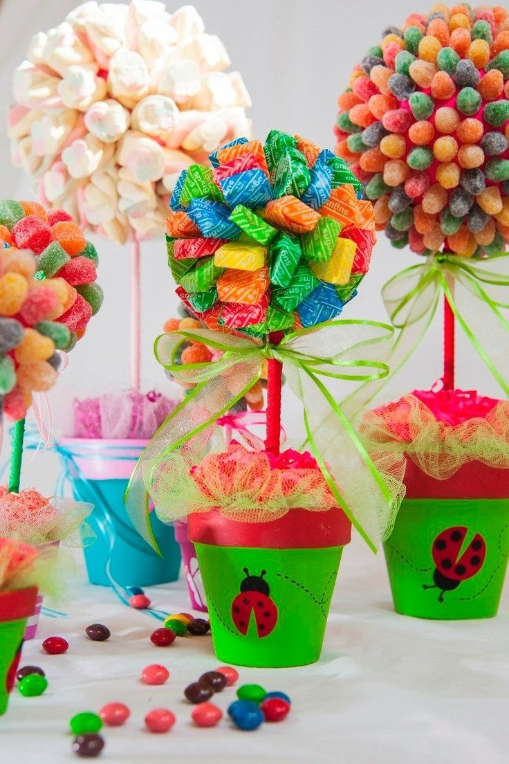 Topario de dulces centro de mesa cumplea os xv a os boda for Mesa de dulces para xv anos