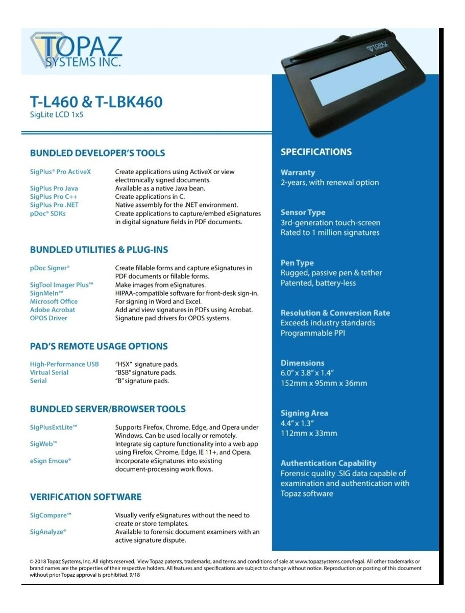Topaz Tlbk460 Digitalizador De Firma - Nuevos Y Originales