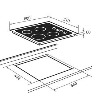 Tope cocina electrico vitroceramica teka 60 cm bs 55 - Cocina vitroceramica teka ...