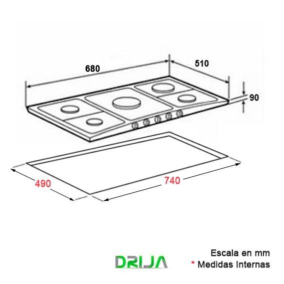 Tope empotrar cocina gas drija 76 cm vitroceramica genova for Cocina vitroceramica a gas