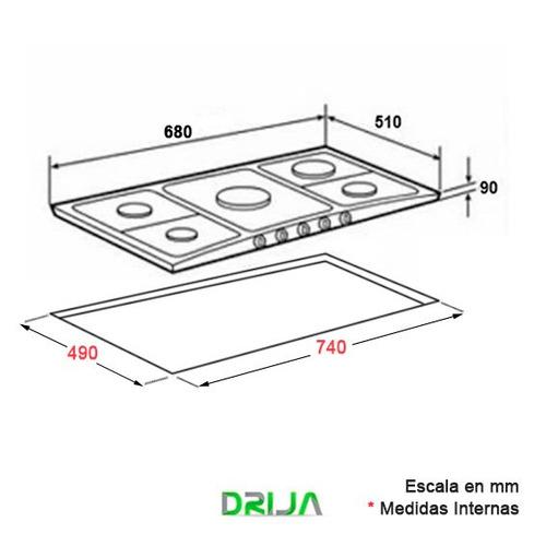 tope empotrar cocina gas drija 76 cm vitroceramica genova