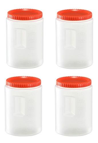 toper de plastico recipiente con taparosca 3.3  lt 4 pzas