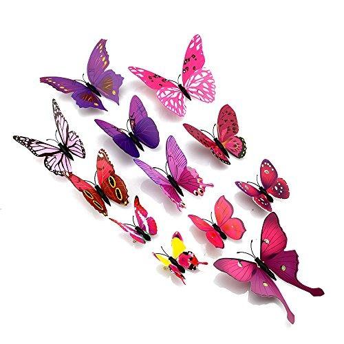topixdeals 48pcs etiquetas engomadas 3d de la mariposa pega