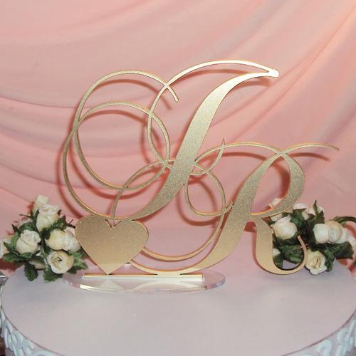 topo bolo acrílico casamento aniversário iniciais dourado