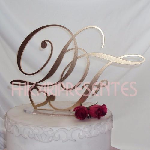topo bolo acrílico casamento monograma iniciais vela noivos