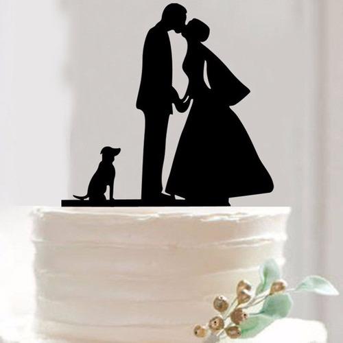 topo bolo acrílico casamento noivado preto - casal + pet 2