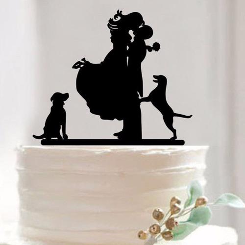 topo bolo acrílico casamento noivado preto - casal + pet 5