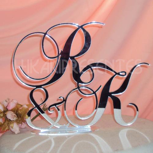 topo bolo acrílico espelho casamento monograma noivinhos