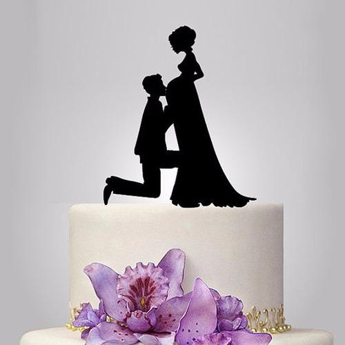 topo bolo acrílico preto casamento noivado casal grávida 1b
