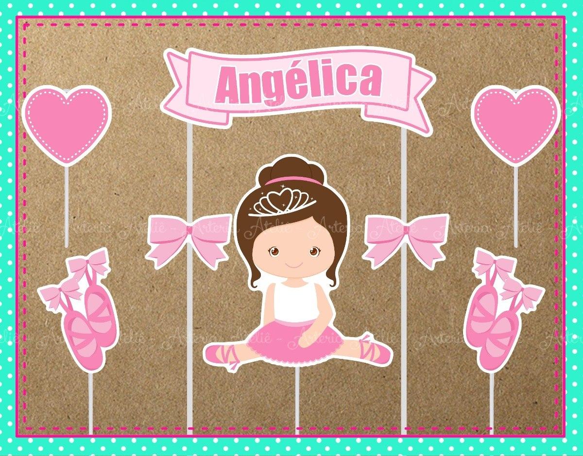 d0071b9667 Aplique Toten Tag Topo De Bolo Festa Bailarina Princesa Balé - R  16 ...