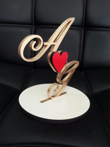 topo bolo personalizado casamento monograma iniciais