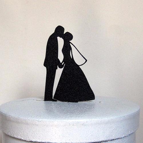 topo de bolo acrílico preto casamento noivado - casal 10