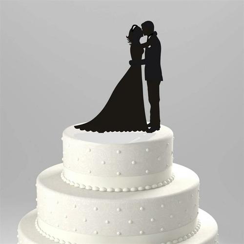 topo de bolo acrílico preto casamento noivado - casal 3