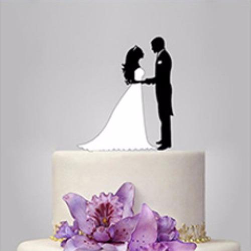 topo de bolo acrílico preto casamento noivado - casal 5