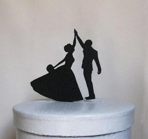 topo de bolo acrílico preto casamento noivado - casal 7a