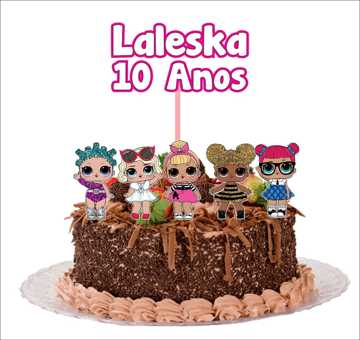 Topo De Bolo Cake Topper Decoraç u00e3o Festa Lol Surprise R$ 24,88 em Mercado Livre -> Decoracao De Bolo Da Lol