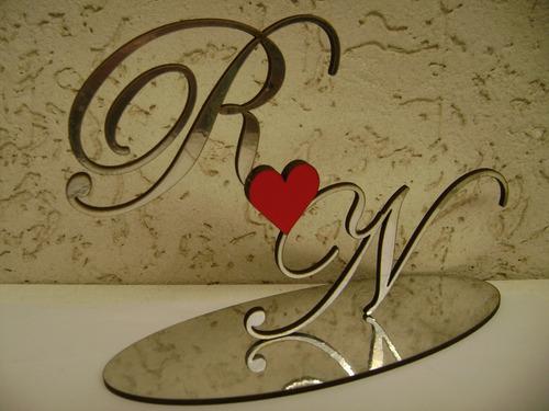 topo de bolo casamento 15 anos  decorado iniciais letras