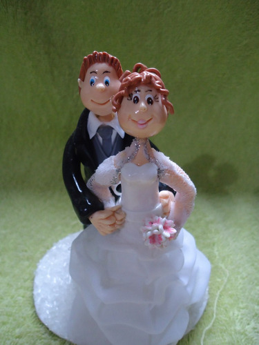 topo de bolo casamento em biscuit