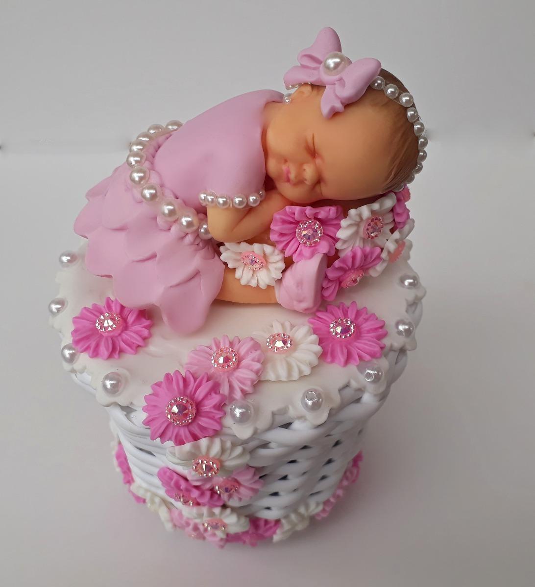Topo De Bolo Chá De Bebê Menina Com Flores Na Cesta R 5760 Em