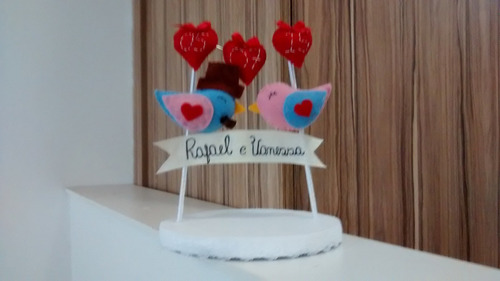 topo de bolo de passarinho em feltro