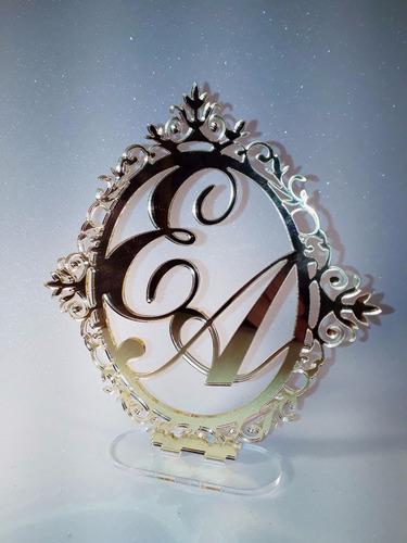topo de bolo em acrilico 3mm espelhado (dourado ou prata)