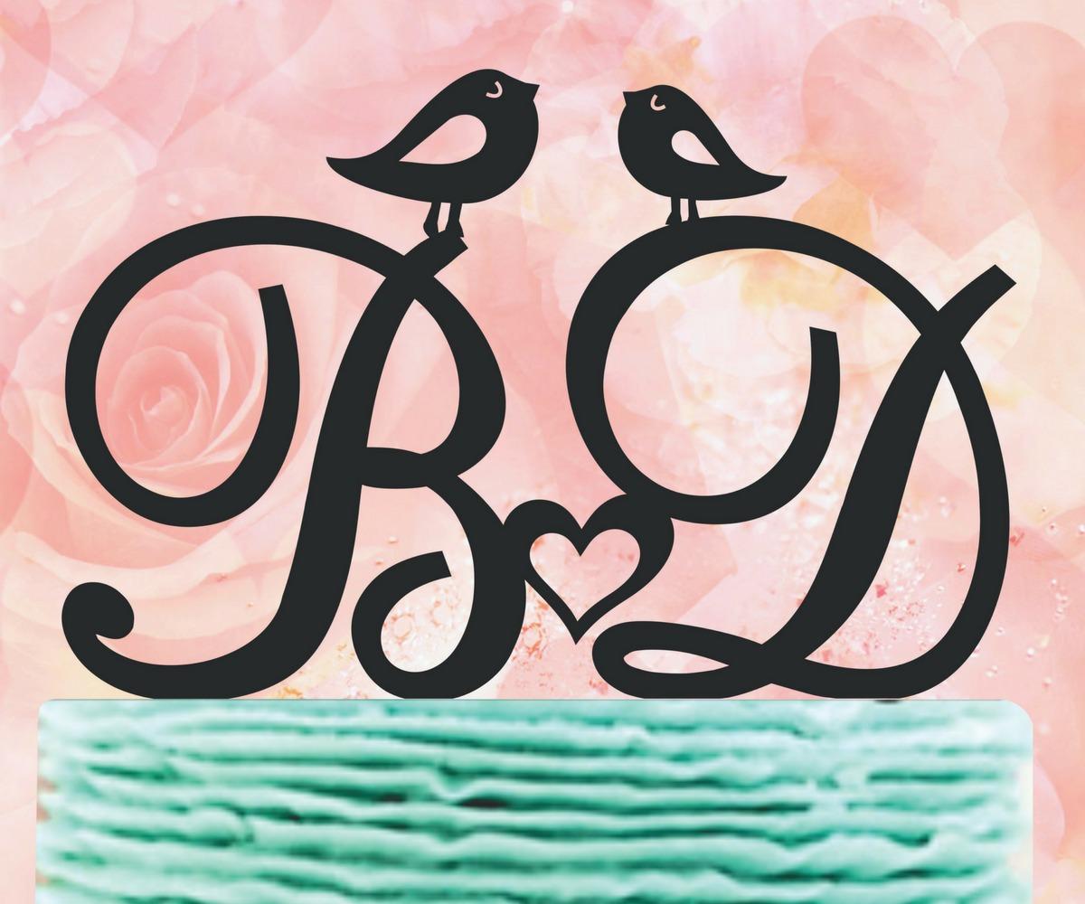 Topo De Bolo Em Acrílico Espelhado Com Pássaros edcdaaa6b21