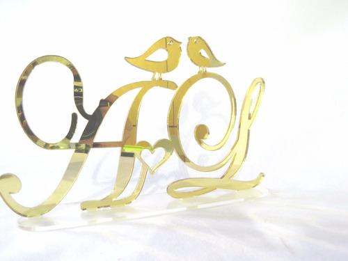 topo de bolo em acrílico espelhado com pássaros, casamento!