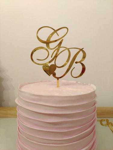 topo de bolo em acrílico espelhado dourado