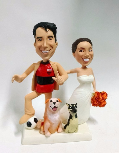 topo de bolo noivinhos caricatura  personalizados  flamengo