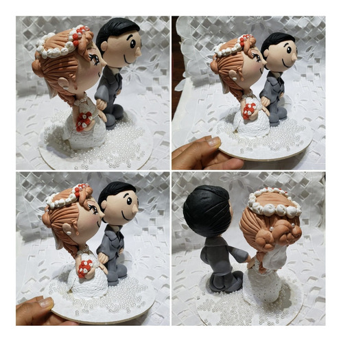 topo de bolo noivos casamento bonecos casal biscuit