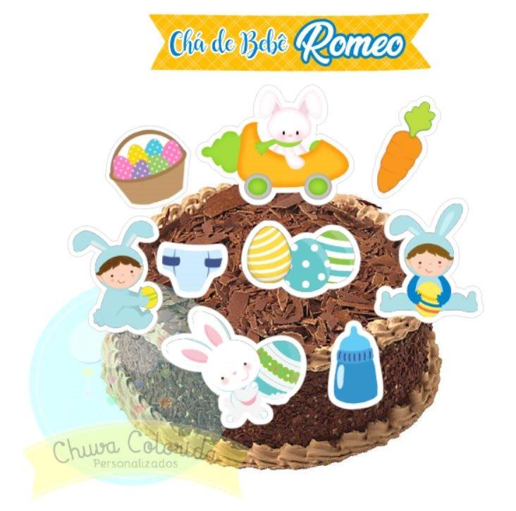 Topo De Bolo Scrap Pascoa Coelhinho Pascoa Baby 24 Tags R 41