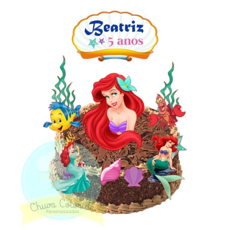 Topo De Bolo Scrap Pequena Sereia Ariel 24 Tags Docinhos R 41