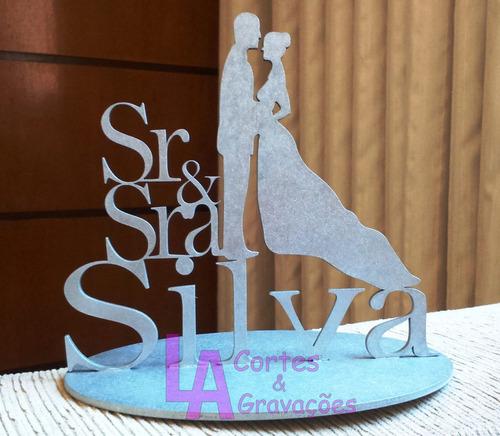 topo de bolo sr & sra casamento personalizado dourado prata