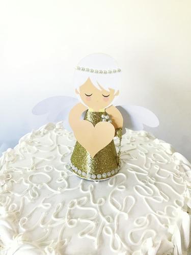 topo de bolo topper personalizado anjinho para batizado
