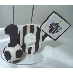 40e914fee5bcf Vela Topo Bolo Tema Futebol Personalizado Nas Cores Do Time