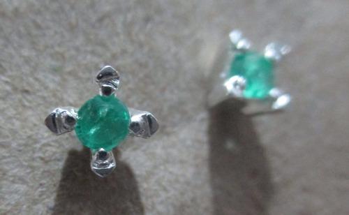 topos en plata con esmeraldas solitario 100%garantizados