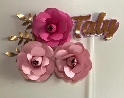 topo/topper rosas e nome de papel