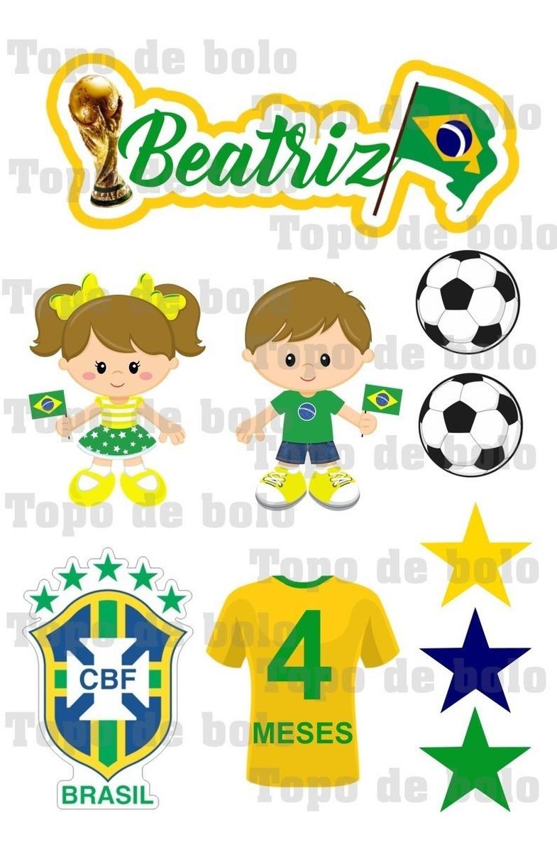 Topper De Bolo Topo Scrap Futebol Brasil Para Imprimir R 14