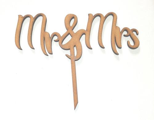 topper de madera para tortas modelo mr y mrs 15 color crudo