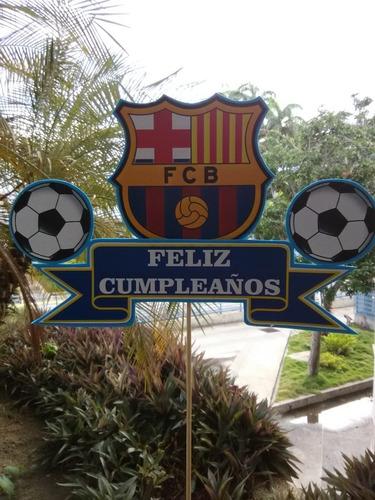 topper personalizado de futbol club barcelona x 3