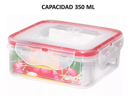 topper recipiente hermético cuadrado 5 piezas 350 ml sin bpa