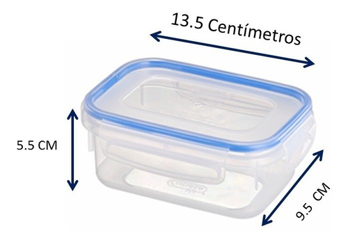 topper recipiente hermético rectangular 6 piezas cap. 250 ml