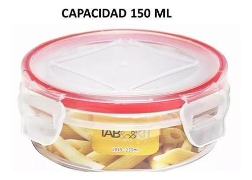 topper recipiente hermético redondo 5 piezas 150 ml sin bpa