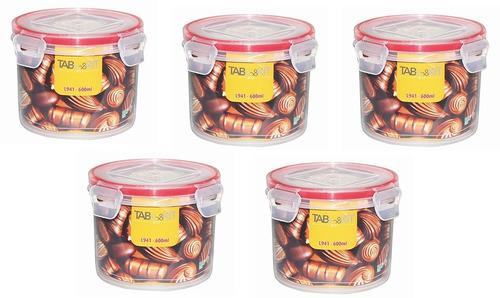 topper recipiente hermético redondo 5 piezas 500 ml sin bpa