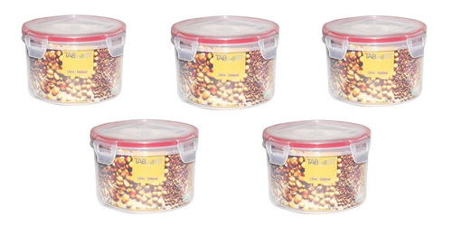 topper recipiente hermético redondo 5 pzas 900 ml sin bpa