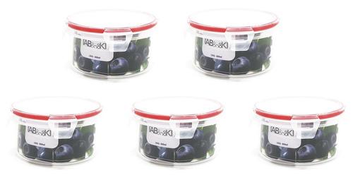 topper recipiente hermético redondo 600 ml 5 pz sin bpa