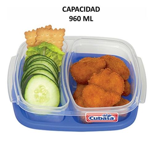 topper recipiente rectangular 2 divisiónes 6 pzs cap. 960 ml